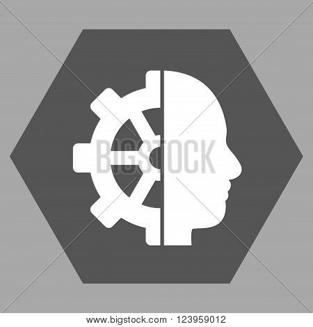 Cyborg Gear vector symbol. Image style is bicolor flat cyborg gear pictogram symbol drawn on a hexagon with dark gray and white colors.