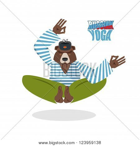 Yoga Russia. Yoga Bear. Beast meditates on a white background. Yoga in Russia. Bear in a cap and T-shirt. Yoga animals