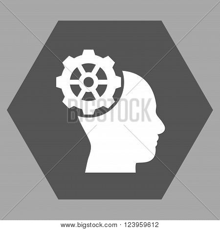 Head Gear vector icon. Image style is bicolor flat head gear iconic symbol drawn on a hexagon with dark gray and white colors.