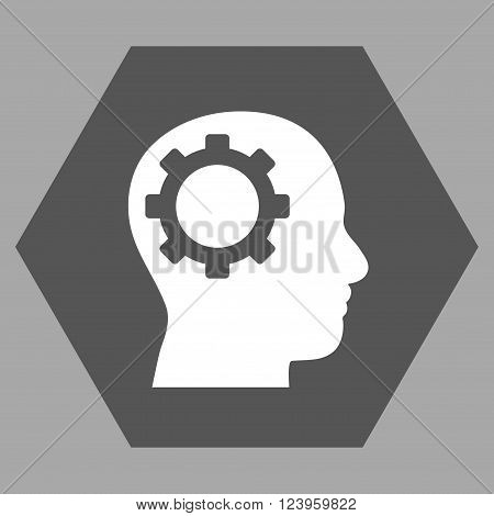 Intellect Gear vector icon. Image style is bicolor flat intellect gear pictogram symbol drawn on a hexagon with dark gray and white colors.