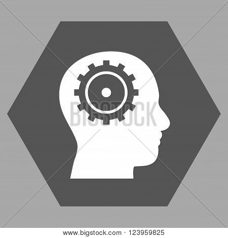 Intellect vector icon. Image style is bicolor flat intellect pictogram symbol drawn on a hexagon with dark gray and white colors.