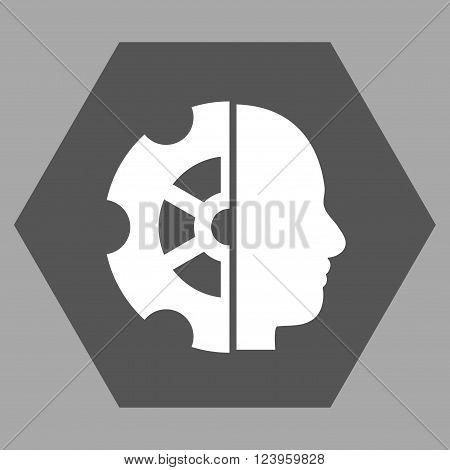 Intellect vector pictogram. Image style is bicolor flat intellect pictogram symbol drawn on a hexagon with dark gray and white colors.