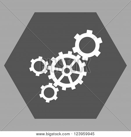 Mechanism vector symbol. Image style is bicolor flat mechanism iconic symbol drawn on a hexagon with dark gray and white colors.