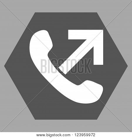 Outgoing Call vector icon symbol. Image style is bicolor flat outgoing call pictogram symbol drawn on a hexagon with dark gray and white colors.