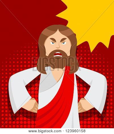 Angry Jesus. Jesus is not satisfied. Angered by Jesus Christ. Gods son in rage. Biblical character in pop art style. Bubble for text