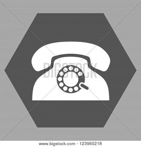 Pulse Phone vector icon. Image style is bicolor flat pulse phone iconic symbol drawn on a hexagon with dark gray and white colors.