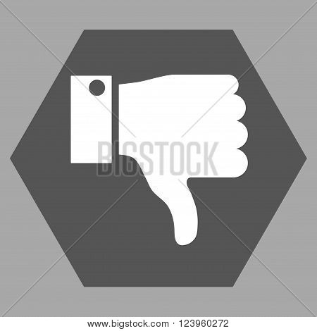 Thumb Down vector pictogram. Image style is bicolor flat thumb down icon symbol drawn on a hexagon with dark gray and white colors.
