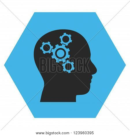 Brain Mechanics vector pictogram. Image style is bicolor flat brain mechanics iconic symbol drawn on a hexagon with blue and gray colors.