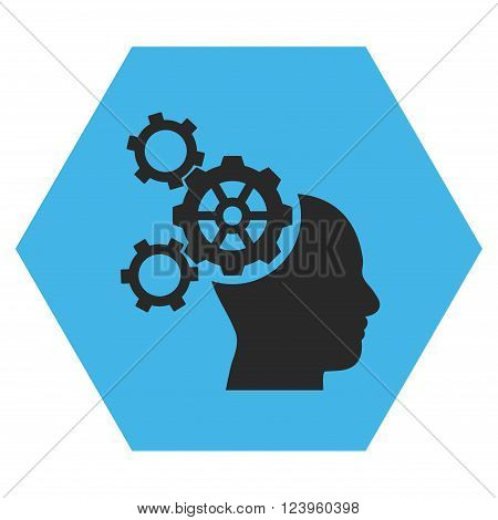 Brain Mechanics vector pictogram. Image style is bicolor flat brain mechanics icon symbol drawn on a hexagon with blue and gray colors.