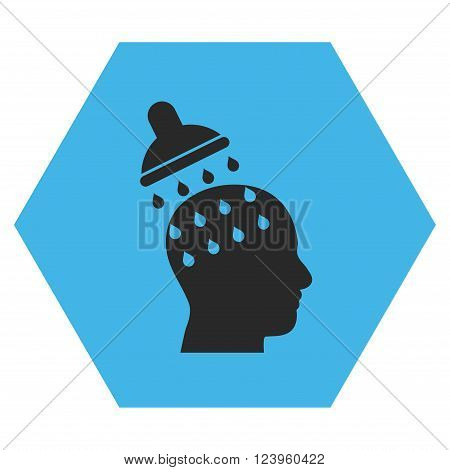 Brain Washing vector symbol. Image style is bicolor flat brain washing pictogram symbol drawn on a hexagon with blue and gray colors.