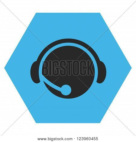 Call Center Operator vector pictogram. Image style is bicolor flat call center operator pictogram symbol drawn on a hexagon with blue and gray colors.