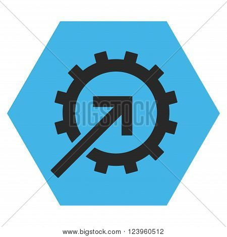 Cog Integration vector pictogram. Image style is bicolor flat cog integration pictogram symbol drawn on a hexagon with blue and gray colors.