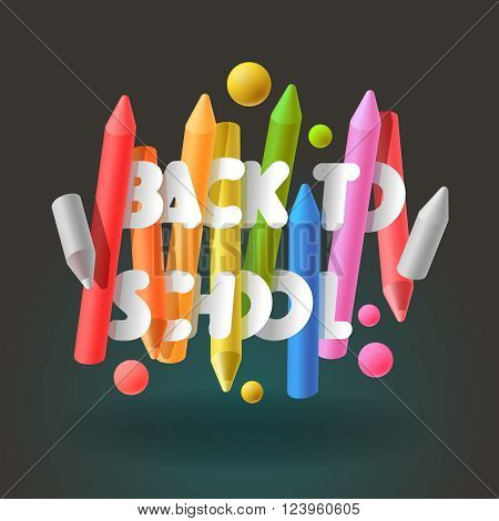 Back to school background with colorful crayons, vector illustration.