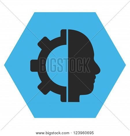 Cyborg Gear vector symbol. Image style is bicolor flat cyborg gear iconic symbol drawn on a hexagon with blue and gray colors.
