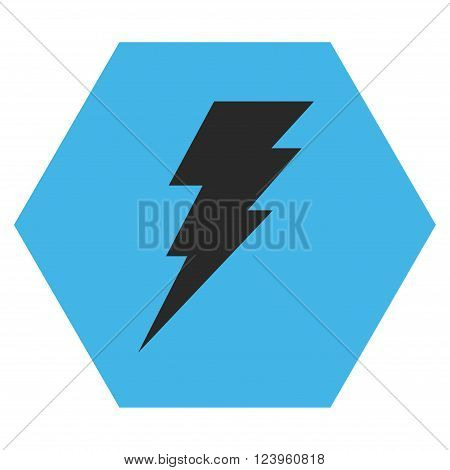 Execute vector symbol. Image style is bicolor flat execute iconic symbol drawn on a hexagon with blue and gray colors.