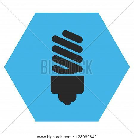 Fluorescent Bulb vector pictogram. Image style is bicolor flat fluorescent bulb iconic symbol drawn on a hexagon with blue and gray colors.