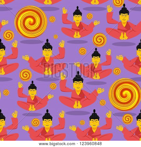 Buddha Seamless Pattern. Seated Buddha In Lotus Position. Indian God Texture. Ornament Buddha And En