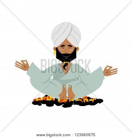 Yogi on coals. Indian yoga sitting on hot coals. Meditation Man practicing yoga exercises.  Indian Yogi in his turban on white background