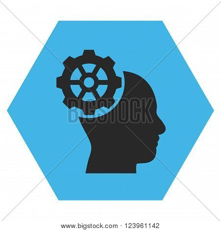 Head Gear vector symbol. Image style is bicolor flat head gear icon symbol drawn on a hexagon with blue and gray colors.