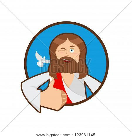 Jesus hands shows thumbs up. Son of God. Signs all right. Hand showing ok. Gesture of hand. Jesus Christ of Bible character. Holy man