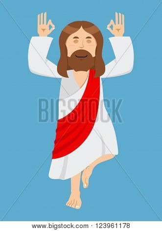Jesus Christ is engaged in yoga. Jesus in lotus position. Catholic biblical character. Son of God. Christian person of holy book. Holy man
