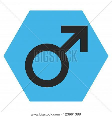 Male Symbol vector icon. Image style is bicolor flat male symbol iconic symbol drawn on a hexagon with blue and gray colors.