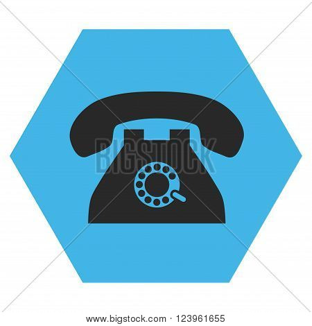 Pulse Phone vector pictogram. Image style is bicolor flat pulse phone iconic symbol drawn on a hexagon with blue and gray colors.