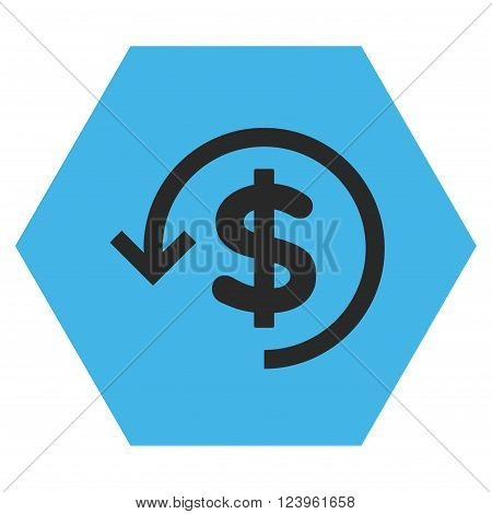 Refund vector pictogram. Image style is bicolor flat refund pictogram symbol drawn on a hexagon with blue and gray colors.