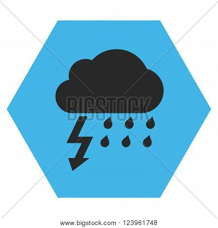 Thunderstorm vector icon symbol. Image style is bicolor flat thunderstorm iconic symbol drawn on a hexagon with blue and gray colors.