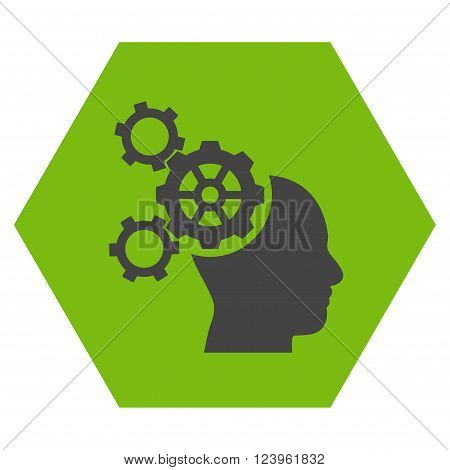 Brain Mechanics vector icon. Image style is bicolor flat brain mechanics pictogram symbol drawn on a hexagon with eco green and gray colors.
