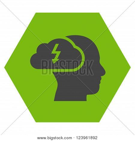 Brainstorming vector icon. Image style is bicolor flat brainstorming pictogram symbol drawn on a hexagon with eco green and gray colors.