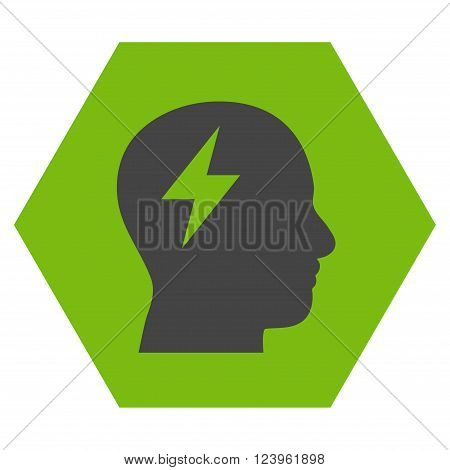 Brainstorming vector icon symbol. Image style is bicolor flat brainstorming icon symbol drawn on a hexagon with eco green and gray colors.