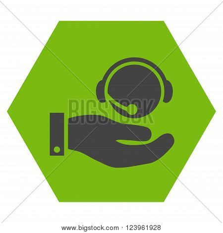 Call Center Service vector pictogram. Image style is bicolor flat call center service pictogram symbol drawn on a hexagon with eco green and gray colors.