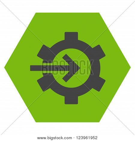 Cog Integration vector icon symbol. Image style is bicolor flat cog integration pictogram symbol drawn on a hexagon with eco green and gray colors.