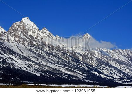 Mount Woodring of the Grand Tetons Peaks in Grand Tetons National Park in Wyoming USA