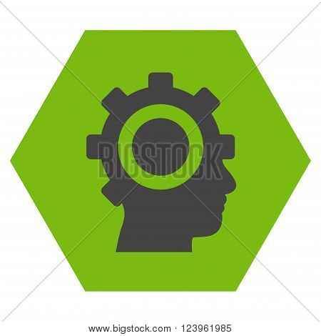 Cyborg Gear vector symbol. Image style is bicolor flat cyborg gear pictogram symbol drawn on a hexagon with eco green and gray colors.