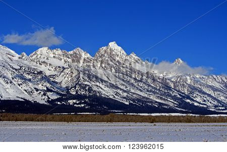 Mount Woodring of the Grand Tetons Peaks in Grand Tetons National Park in the United States
