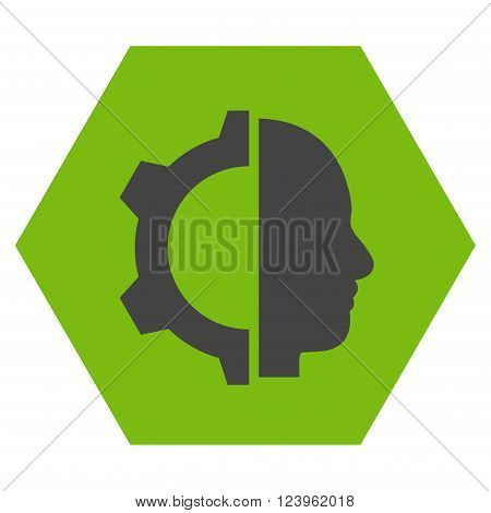 Cyborg Gear vector icon symbol. Image style is bicolor flat cyborg gear pictogram symbol drawn on a hexagon with eco green and gray colors.