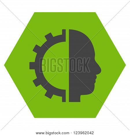 Cyborg Gear vector symbol. Image style is bicolor flat cyborg gear icon symbol drawn on a hexagon with eco green and gray colors.