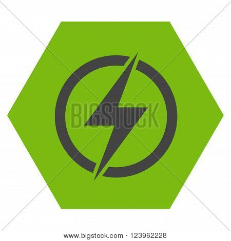 Electricity vector symbol. Image style is bicolor flat electricity icon symbol drawn on a hexagon with eco green and gray colors.