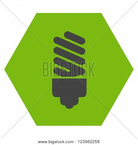 Fluorescent Bulb vector symbol. Image style is bicolor flat fluorescent bulb pictogram symbol drawn on a hexagon with eco green and gray colors.