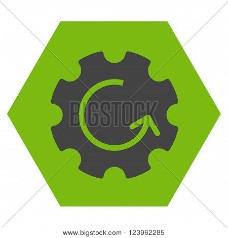 Gear Rotation vector icon. Image style is bicolor flat gear rotation pictogram symbol drawn on a hexagon with eco green and gray colors.
