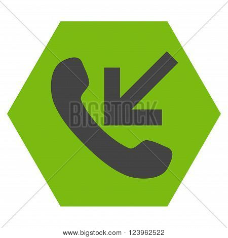 Incoming Call vector icon symbol. Image style is bicolor flat incoming call pictogram symbol drawn on a hexagon with eco green and gray colors.
