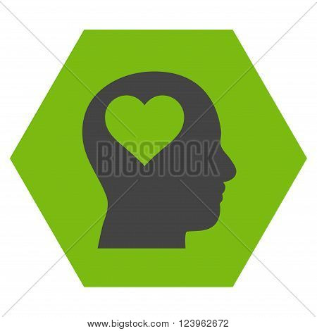 Lover Head vector pictogram. Image style is bicolor flat lover head pictogram symbol drawn on a hexagon with eco green and gray colors.