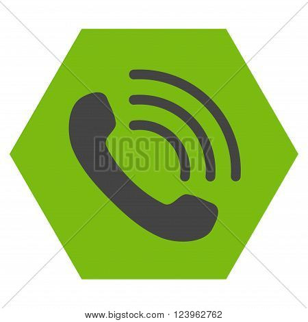 Phone Call vector pictogram. Image style is bicolor flat phone call icon symbol drawn on a hexagon with eco green and gray colors.