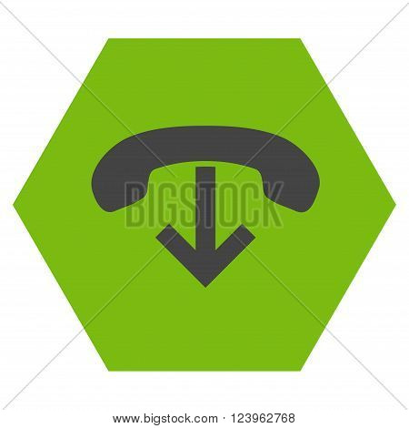 Phone Hang Up vector icon symbol. Image style is bicolor flat phone hang up pictogram symbol drawn on a hexagon with eco green and gray colors.