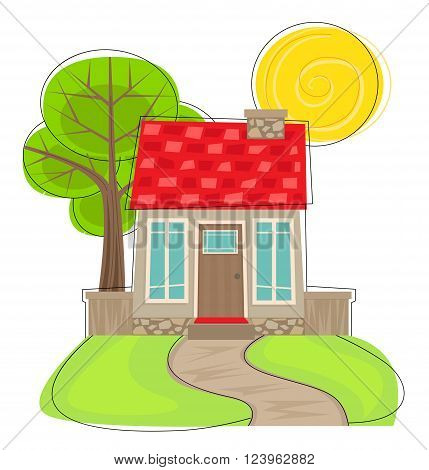 Stylized cartoon house with front lawn, pathway, and tree in the back. Eps10