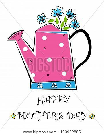 Happy Mother's day pink and blue watering can with flowers. Eps10