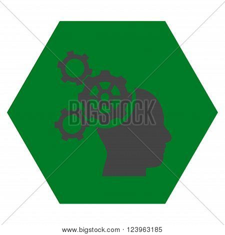 Brain Mechanics vector icon symbol. Image style is bicolor flat brain mechanics icon symbol drawn on a hexagon with green and gray colors.