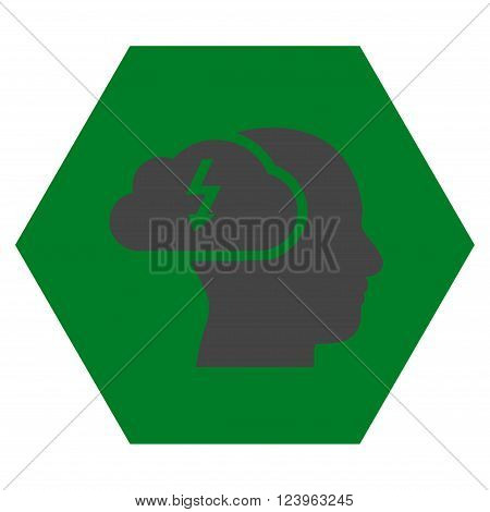 Brainstorming vector icon. Image style is bicolor flat brainstorming pictogram symbol drawn on a hexagon with green and gray colors.
